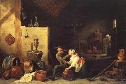David Teniers An Old Peasant Caresses a Kitchen Maid in a Stable oil painting picture wholesale