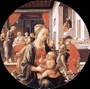 Fra Filippo Lippi Madonna and Son with histories of the life of Holy Ana oil painting picture wholesale
