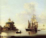 Francis Swaine An English two-deker and a Dutch barge at anchor off a coastal fort oil painting picture wholesale