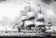 Francis Swaine A drawing of a British two-decker off Calshot Castle oil painting picture wholesale