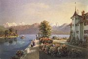 Gabriel Lory fils View of the old lock Schadau in Thun oil painting picture wholesale