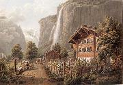 Gabriel Lory fils Fall taken Staubbach has l-entree of the town of Lauterbrunne oil painting picture wholesale