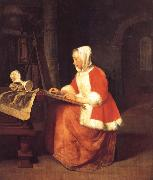 Gabriel Metsu A Young Woman Seated Drawing oil painting picture wholesale