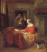 Gabriel Metsu A Woman Seated at a Table and a Man Tuning a Violin oil painting picture wholesale