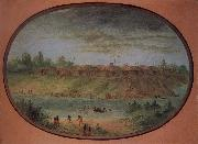 George Catlin Minnetarree Village Seen Miles above the Mandans on the Bank of the Knife River oil painting picture wholesale