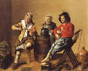Jan Miense Molenaer Two Boys and a Girl Making Music oil painting artist