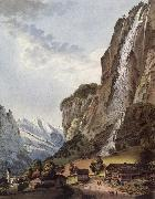 Johann Ludwig Aberli Fall d-eau apellee Staubbach in the Vallee Louterbrunnen oil painting reproduction