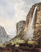 Johann Ludwig Aberli Fall d-eau apellee Staubbach in the Vallee Louterbrunen oil painting picture wholesale