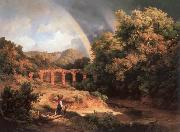 Karoly Marko the Elder Italian Landscape with Viaduct and Rainbow oil painting artist