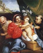 LOTTO, Lorenzo The Virgin and Child with Saint Jerome and Saint Nicholas of Tolentino oil painting picture wholesale