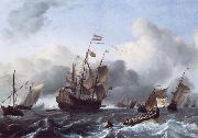 Ludolf Backhuysen The Eendracht and a Fleet of Dutch Men-of-War oil painting artist