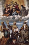 MORETTO da Brescia Saint Bernardino with Saints Jerome,Joseph,Francis and Nicholas of Bari,Virgin and Child in Glory with Saints Catherine of Alexandria and Clare oil painting picture wholesale