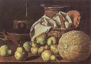 Melendez, Luis Eugenio Still-Life with Melon and Pears oil painting picture wholesale
