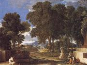 Nicolas Poussin Landscape with a Man Washing His Feet at a Fountain oil painting picture wholesale
