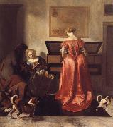 OCHTERVELT, Jacob A Woman Playing a Virgind,AnotherSinging and a man Playing a Violin oil painting picture wholesale