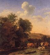 POTTER, Paulus A Landscape with Cows,sheep and horses by a Barn oil painting picture wholesale