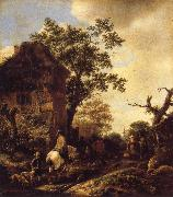 RUISDAEL, Jacob Isaackszon van The Outskirts of a Village,with a Horseman oil painting picture wholesale