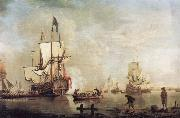 Thomas Mellish The Royal Caroline in a calm estuary flying a Royal standard and surrounded by an attendant barge and other small boats oil painting picture wholesale