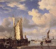VELDE, Willem van de, the Younger Dutch Vessels Close Inshore at Low Tide,and Men Bathing oil painting picture wholesale