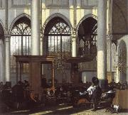 WITTE, Emanuel de The Interior of the Oude Kerk,Amsterdam,During a Sermon oil painting picture wholesale