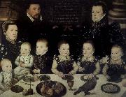 unknow artist Lord Cobham with his wife and her sister Jane and their six Children painted in 1567 oil painting picture wholesale