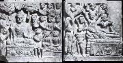 unknow artist Relief from Gandhara with the-first preaching in first preaching in the deer camp-and the death of Buddha, Kushana. oil painting picture wholesale