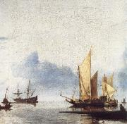 unknow artist A Dutch Yacht and Other Vessels Becalmed Near the Shore oil painting picture wholesale