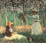 Claude Monet In the woods at Giverny Blanche Hoschede at her Easel with Suzanne Hoschede Reading oil painting picture wholesale