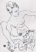Egon Schiele Seated Female nude with drapery oil painting picture wholesale