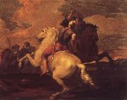 Francesco Simonini Two battle ends horseman oil painting artist