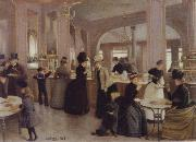 Jean Beraud the Patisserie Gloppe on the Champs-Elysees oil painting picture wholesale