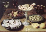 Osias Beert Style life with oysters confectionery and fruits oil painting artist