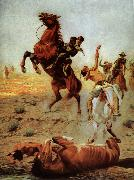 Charles Schreyvogel Fight for water oil painting picture wholesale