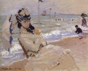 Claude Monet Camille on the Beach at Trouville oil painting picture wholesale