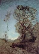 Corot Camille The Italian vill behind pines oil