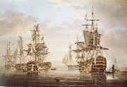 Nicholas Pocock This work of am exposing they five vessel as elbow bare that gora with Horatio Nelson and banskarriar oil painting artist
