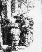 REMBRANDT Harmenszoon van Rijn Beggars receiving alms at the door of a house oil painting picture wholesale