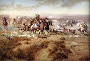 unknow artist Attack on the wagon Train oil painting picture wholesale