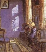 Anna Ancher Sunlight in the Blue Room oil painting