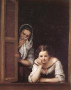 Bartolome Esteban Murillo Two Women in a fonster oil painting picture wholesale