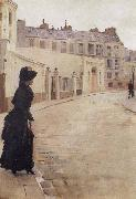 Beraud, Jean Waiting,Paris,Rue de Chateaubriand oil painting artist
