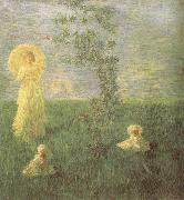 Gaetano previati In the Meadow oil painting artist
