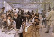 Hugo Birger Scandinavian Artists Breakfasting at the Cafe Ledoyen oil painting picture wholesale