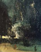 James Abbot McNeill Whistler Nocturne in Black and Gold,the Falling Rocket oil painting artist