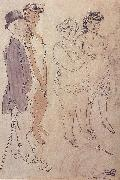Jules Pascin One man and three woman oil painting picture wholesale