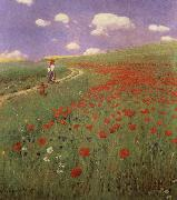 Merse, Pal Szinyei A Field of Poppies oil painting artist