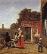 Pieter de Hooch Dutch gard oil painting picture wholesale