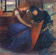 unknow artist Lady Affixing pennant to a knight-s spear oil painting picture wholesale