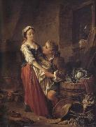 Francois Boucher The Beautiful Kitchen-Maid oil painting artist