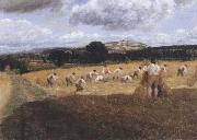George Robert Lewis Dynedor Hill,Herefordshire,Harvest field with reapers (mk47) oil painting picture wholesale